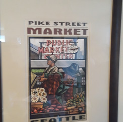 framed and matted Pike Place Market print
