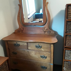 antique oak dresser with beveled mirror