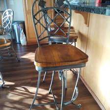 new metal and wood seat swivel bar stools swirls