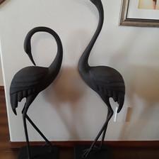 oversized pair black metal cranes