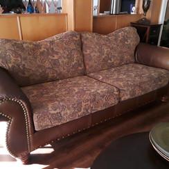hobnail club chair floral sofa faux leather brown neutral