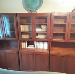 wooden office cabinets with glass doors