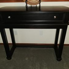 contemporary dark wood sofa table
