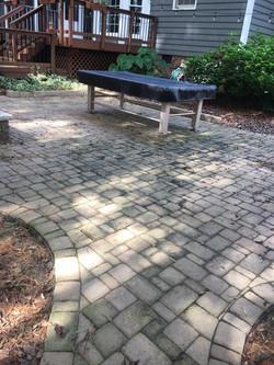 dirty brick patio before
