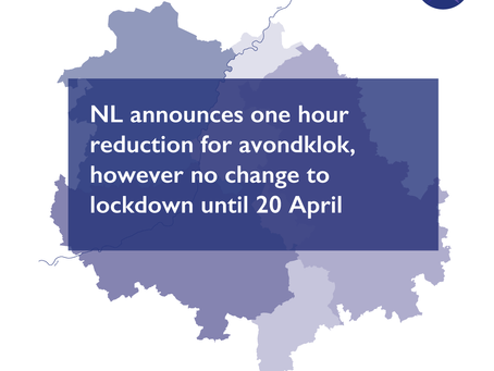 NL reduces avondklok by one hour, however all other lockdown regulations are extended until 20 April
