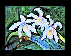 White Queen Orchids | © 2020 Judy Thompson | Watercolor Addict | Abstract Art of Lady J