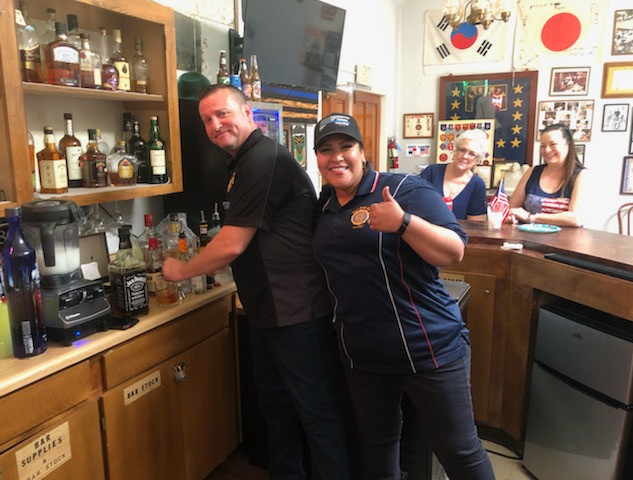 Jason & Lissy tending bar