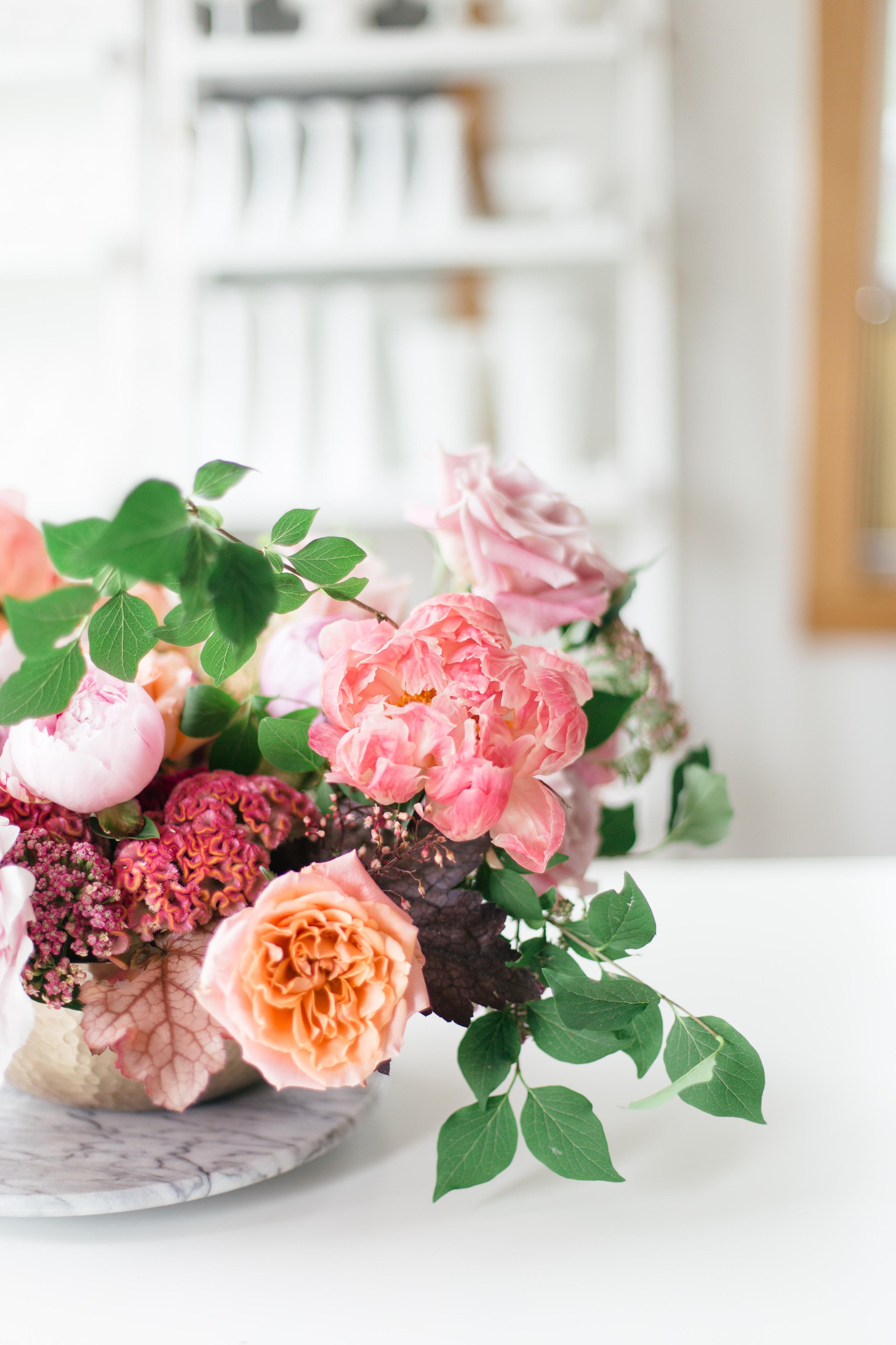 Pink tones colourful floral design