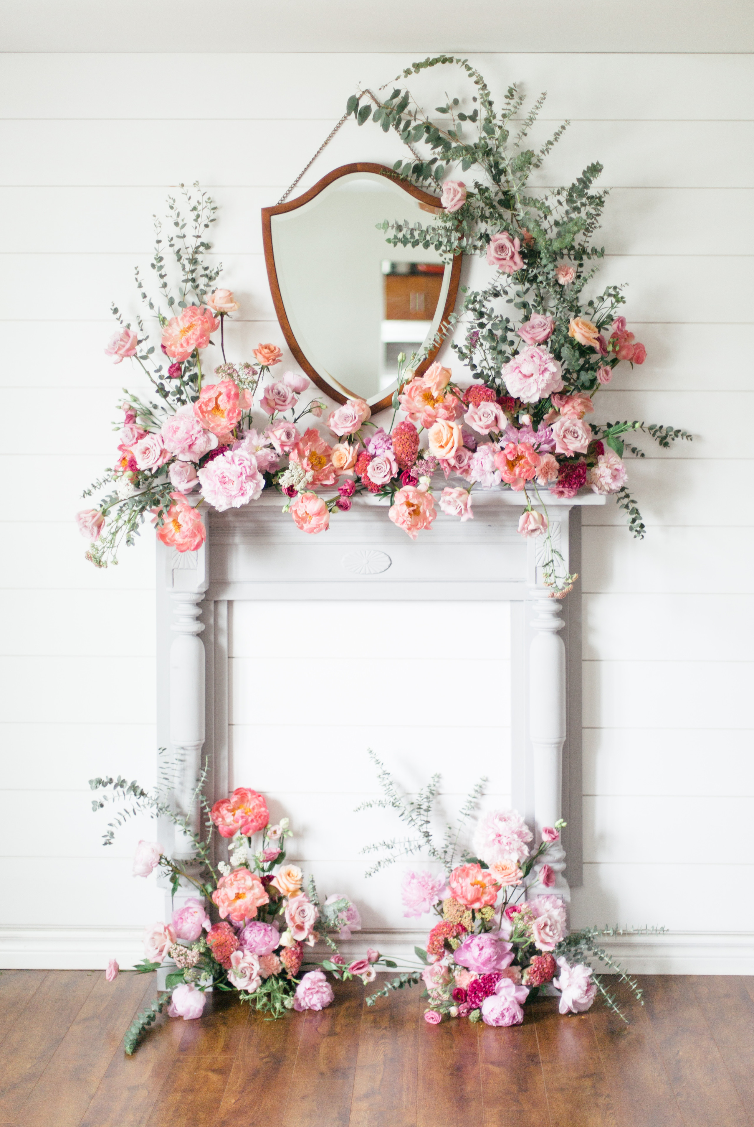 Floral arbor on fireplace for elopement inspiration, Halifax Nova Scotia Wedding