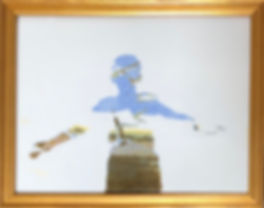 "Ocean of Dreams, silkscreen on fused glass, 9"" x 12"", copyright Rhonda Peyton, 2020."