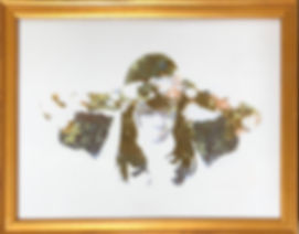 "Blooming in the Shadows, silkscreen on fused glass, 9"" x 12"", copyright Rhonda Peyton, 2020."