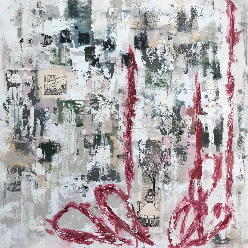 """24"""" x 24""""  Acrylic, Mixed Media Collage on Canvas"""