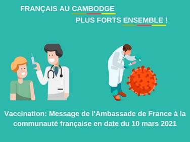 COVID-19 : vaccination au Cambodge, message de l'Ambassade de France.