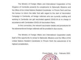 Vaccination anti Covid-19 gratuite pour les résidents étrangers au Cambodge.