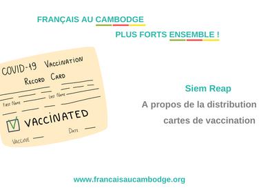 Siem Reap - à propos des cartes de vaccination