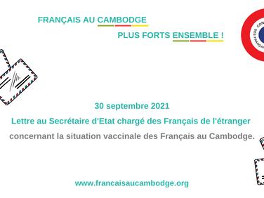 Situation vaccinale des Français au Cambodge, lettre au Ministre chargé des Français de l'étranger