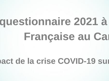Le questionnaire 2021 à la communauté française au Cambodge.