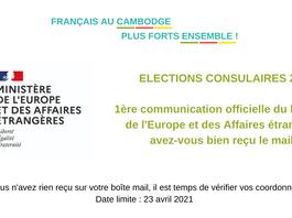 Elections consulaires -communication officielle du Ministère de l'Europe et des Affaires étrangères.