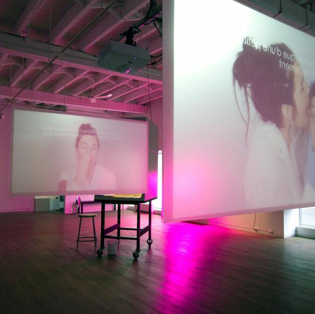 Salivam, twin video installation