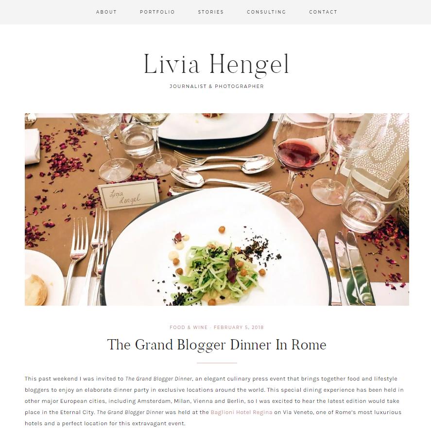 Livia Hengel on The Grand Blogger Dinner