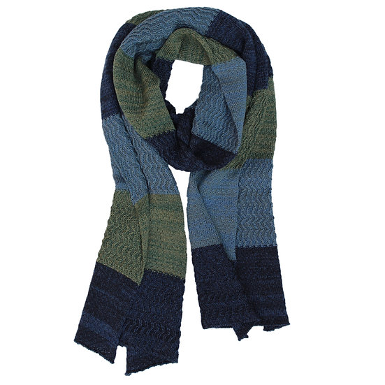 silk and merino racked scarf | blues and green