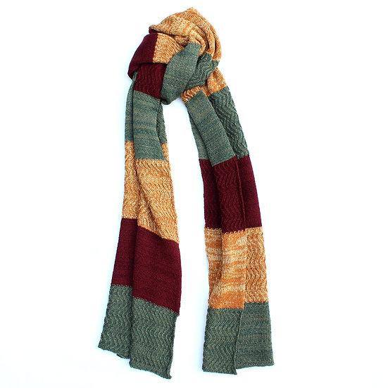 silk and merino racked scarf | maroon, green and orange