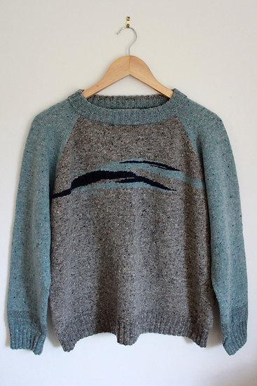 donegal landscape jumper | blue and grey
