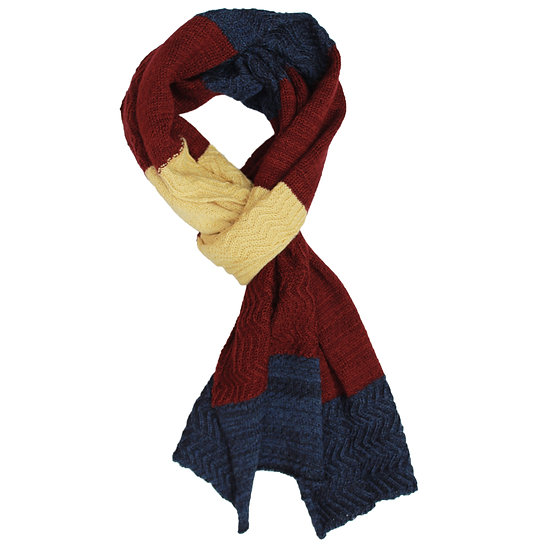 silk and merino racked scarf | blue, maroon and yellow