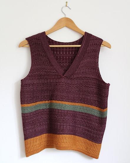 merino and cotton v neck vest | striped melange