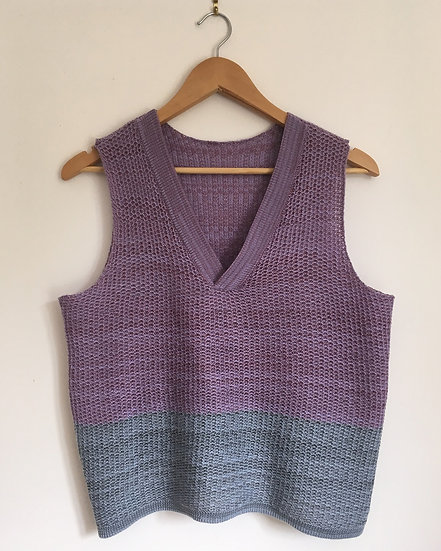 merino and cotton v neck vest   lilac, sky blue