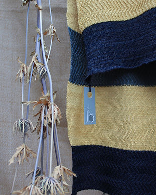 racked scarf in blues and yelllow