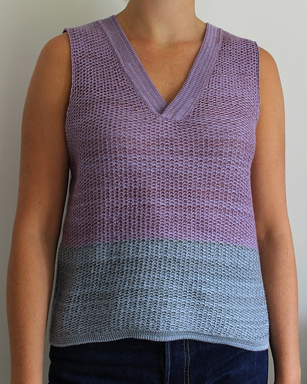 merino and cotton v neck vest | lilac, sky blue