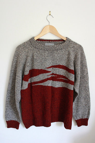 donegal wool landscape jumper | red and grey