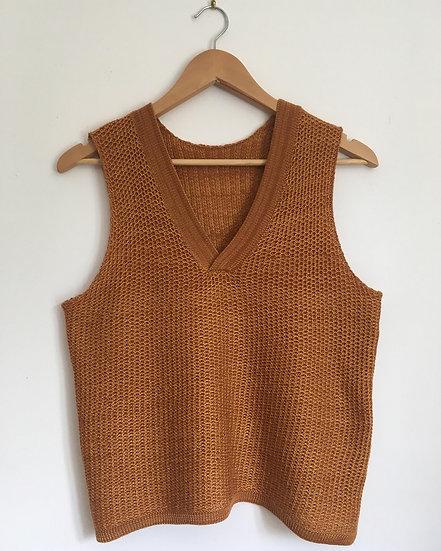 merino and cotton v neck vest | burnt orange