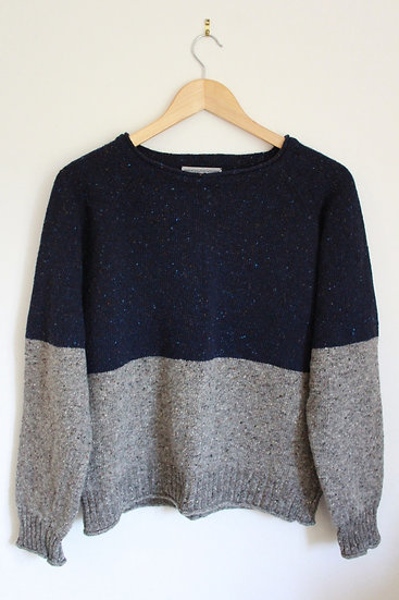 two tone donegal wool jumper | blue and grey
