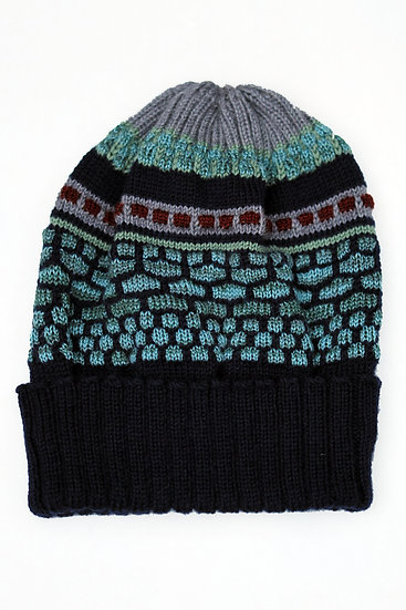 silk and merino sequenced beanie | midnight patterned