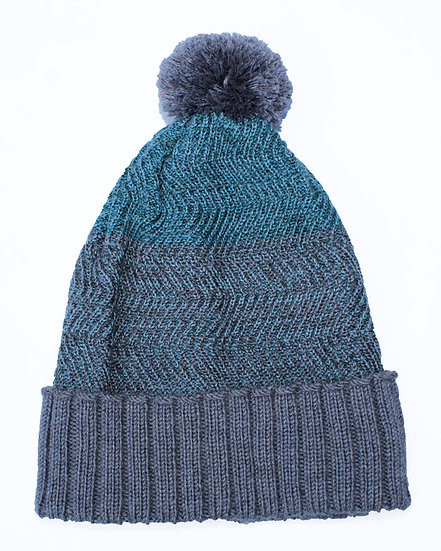 silk and merino racked pom hat | grey & turquoise