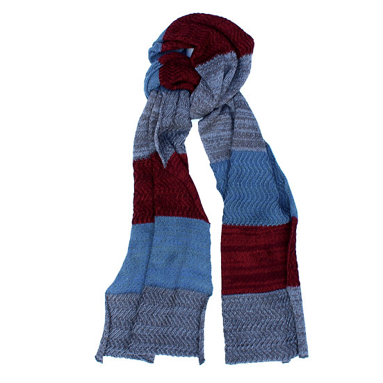 silk and merino racked scarf | blue, grey and maroon