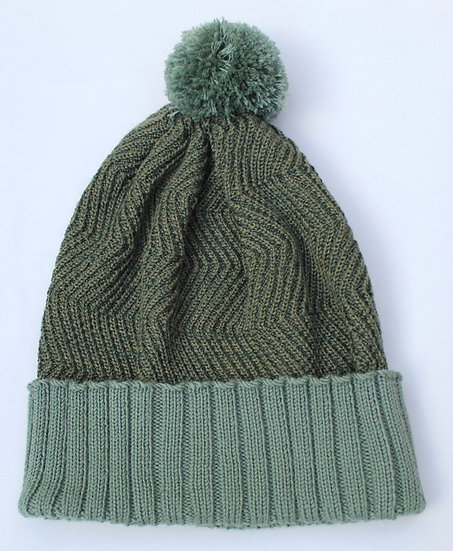 silk and merino racked pom hat | spring greens