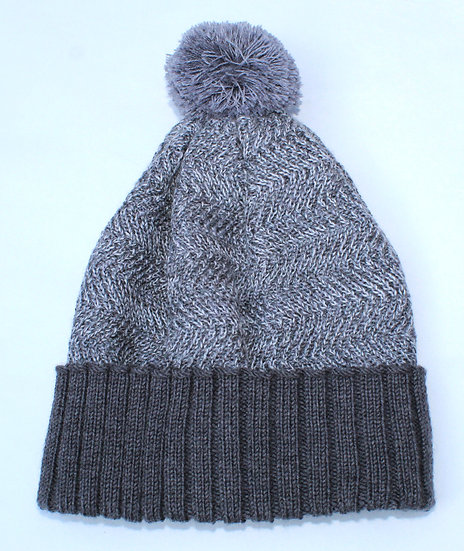 silk and merino racked pom hat | slate & ash grey