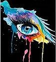 Ceci est le logo de mon entreprise de maquillage. il s'agit d'un oeil maquillé type aquarelle avec beaucoup de couleurs