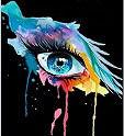 Ceci est mon logo d'entreprise de maquillage. il s'agit d'oeil maquillé genre aquarelle avec beaucoup de couleurs