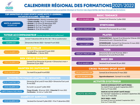 Calendrier des formations 2021/2022
