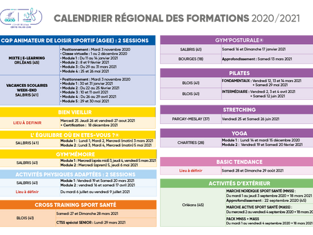 Calendrier des formations 2020/2021