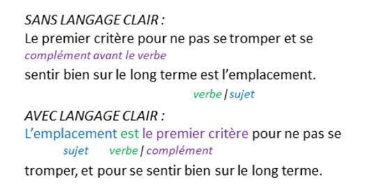 Le langage clair, c'est écrire dans l'ordre sujet/verbe/complément