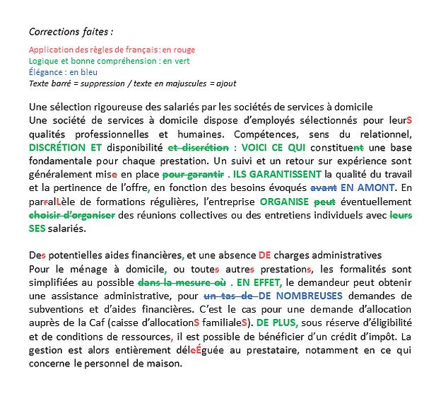 Exemple de correction de texte professionnelle