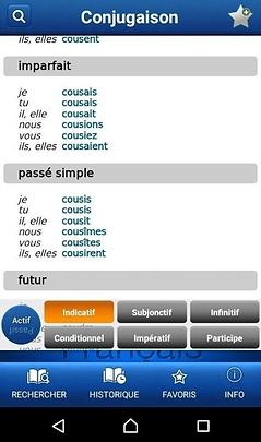 Conjugaison dans application Larousse pour Android