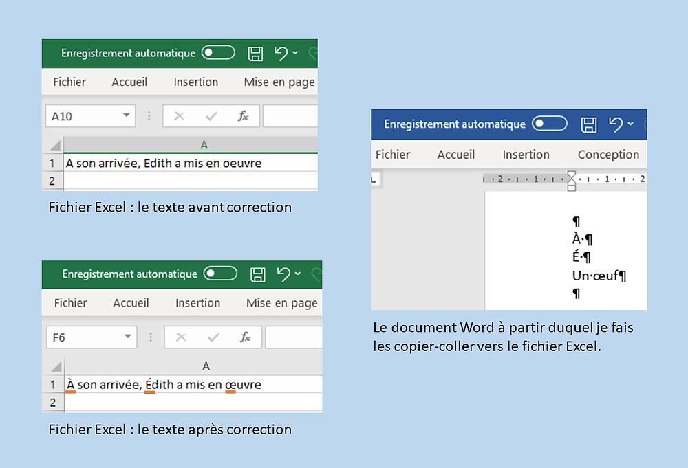 correction professionnelle sur Excel