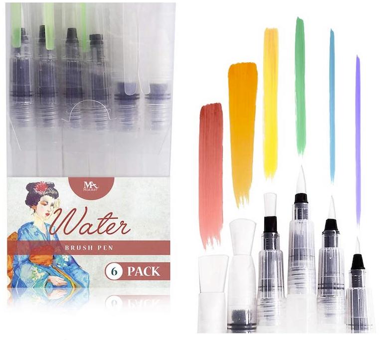 Wasserpinsel Stifte, Water Brush Pen mit Befüllbarer Wassertank, Wasserpinsel Aquarellfarben mit Tray Mischpalette in Blumenform, Fine Point Pinsel Flachpinsel Tip Zeichnen Set