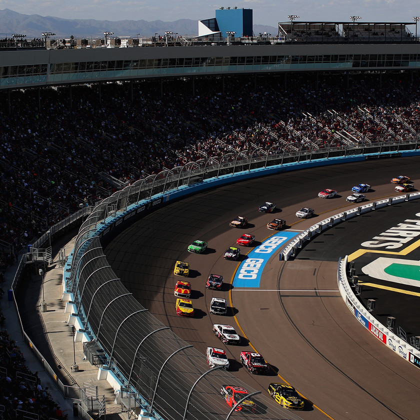 Martin Truex Jr., driver of the #19 Bass Pro Shops Toyota, and Brad Keselowski, driver of the #2 Alliance Parts Ford, leads the pack during the NASCAR Cup Series FanShield 500 at Phoenix Raceway on March 08, 2020 in Avondale, Arizona. (Photo by Christian Petersen/Getty Images)